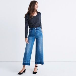 Madewell Wide-leg Dropped Hem Crop Jeans